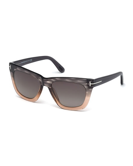 TOM FORD Celina Colorblock T-Temple Polarized Sunglasses, Gray/Pink