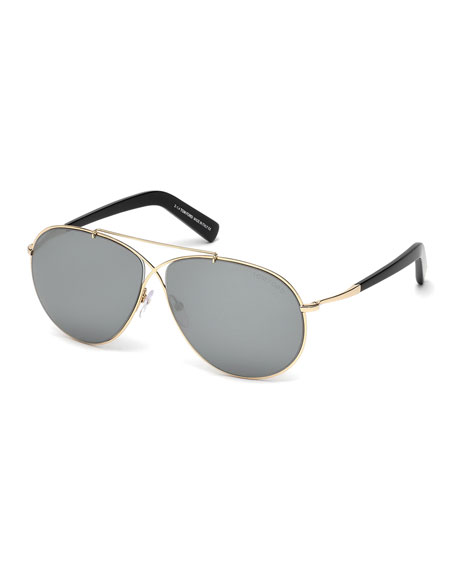 TOM FORD Eva Lighweight Aviator Sunglasses, Rose Gold/Gray