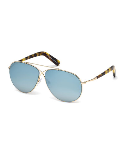 Eva Lighweight Aviator Sunglasses, Rose Gold/Blue Sky