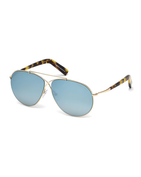TOM FORDEva Lighweight Aviator Sunglasses, Rose Gold/Blue Sky