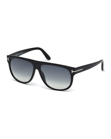 TOM FORD T-Temple Flat-Top Sunglasses, Black