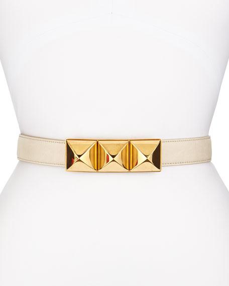 Faux-Leather Pyramid Stud Belt, Cream