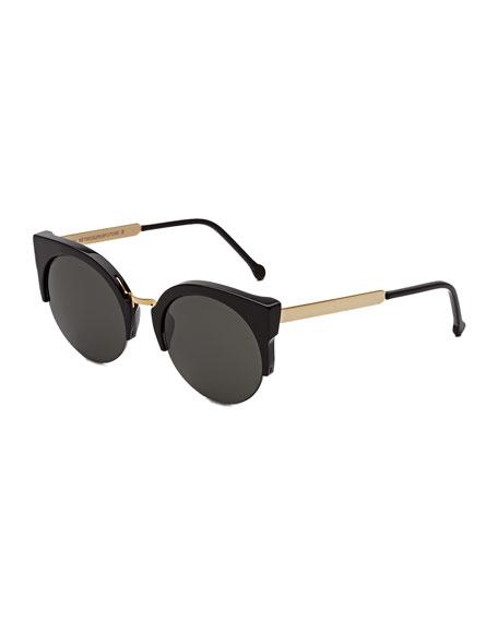 Lucia Francis Sunglasses, Black/Gold