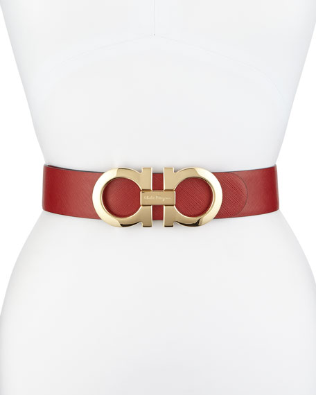 Salvatore Ferragamo 4.5cm Reversible Double-Gancini Belt, Red/Black
