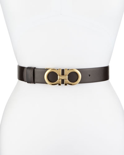 35cm Reversible Leather Gancini Belt, Brown/Black