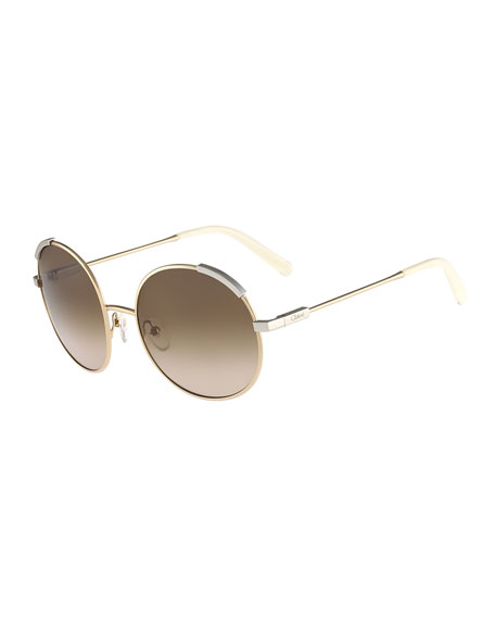 Chloe Eria Round Mixed-Metal Sunglasses, Amber