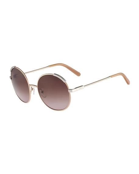 Chloe Eria Round Mixed-Metal Sunglasses, Dark Brown