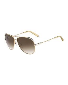 Eria Aviator Sunglasses, Light Gold