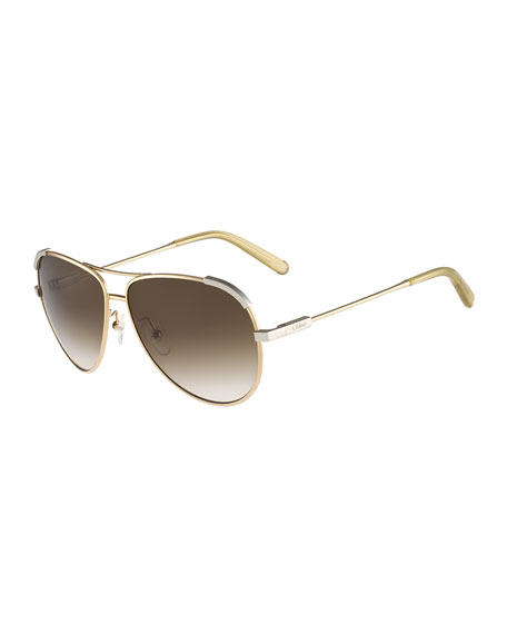 ChloeEria Aviator Sunglasses, Light Gold