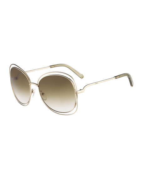 ChloeCarlina Butterfly-Frame Sunglasses, Gold