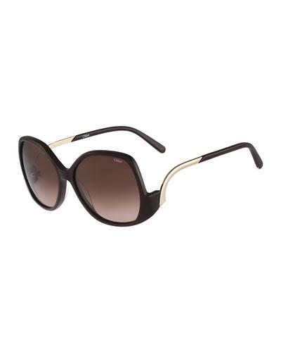 Emilia Drop-Temple Sunglasses, Brown