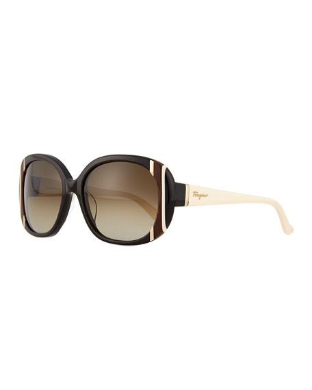 Salvatore Ferragamo Universal Fit Striped Butterfly Sunglasses, Black/Ivory
