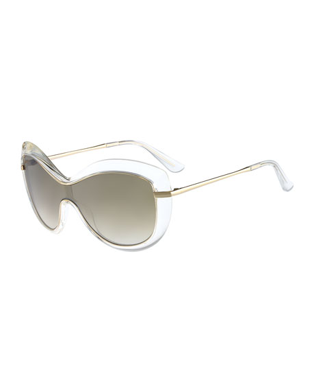 Thick-Rim Shield Sunglasses, Clear/Golden