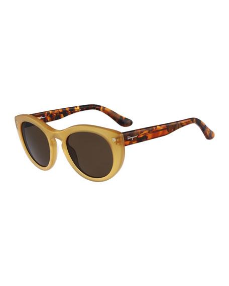 Rounded Cat-Eye Sunglasses, Amber