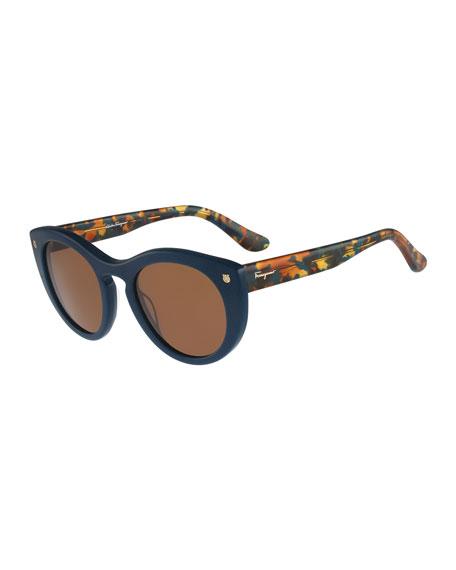 Salvatore Ferragamo Rounded Cat-Eye Sunglasses, Petrol Blue