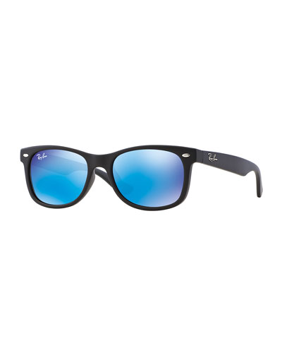 Children's Mirrored Wayfarer Sunglasses, Black/Blue