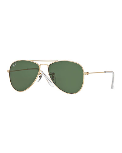 Children's Metal Aviator Sunglasses, Gold/Green