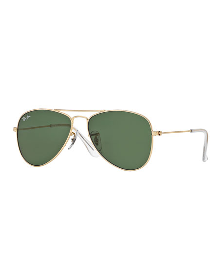 Children's Metal Aviator Sunglasses, Gold/Green