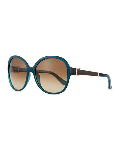 Leather-Temple Universal-Fit Sunglasses, Blue