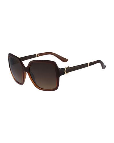 Square Embossed-Arm Sunglasses, Brown