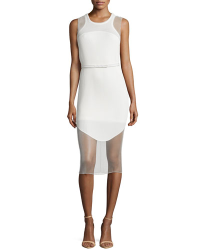 Sleeveless 2-Tier Plisse Dress, Cream