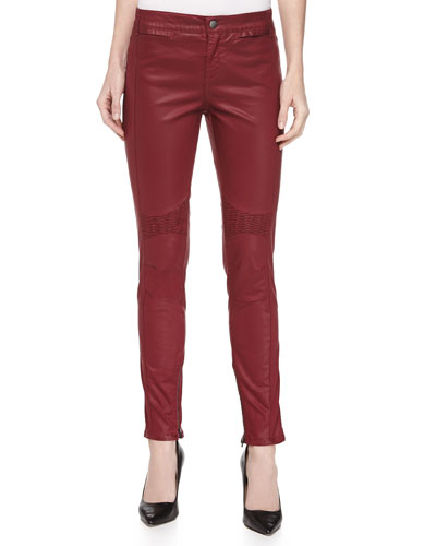 Amber Coated Denim Biker Jeans, Red