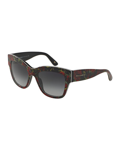 Rose-Printed Piped Sunglasses, Red/Black
