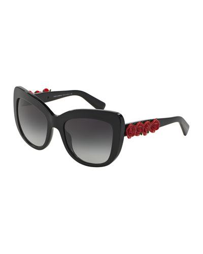 Catwalk Roses Sunglasses, Black/Red