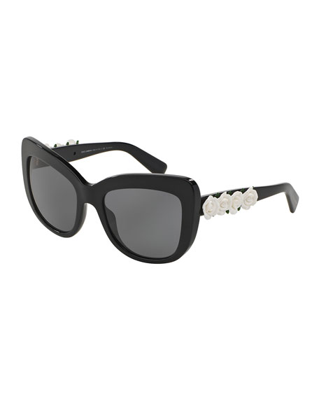 Dolce & Gabbana Catwalk Roses Polarized Sunglasses, Black/White