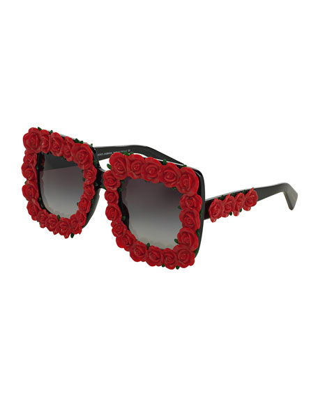 Dolce & Gabbana Absolute Luxury Roses Sunglasses, Red/Black