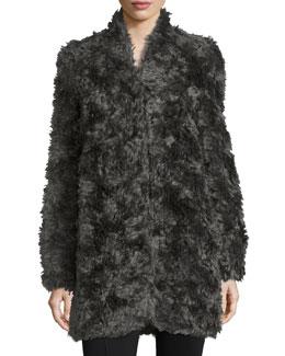 Long Mohair-Blend Coat, Gray