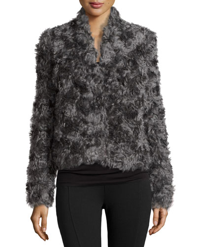 Short Mohair-Blend Coat, Gray