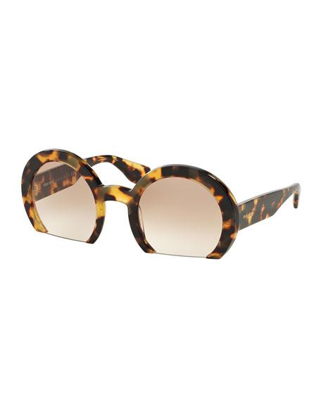 Rasoir Cutoff Round Sunglasses, Havana
