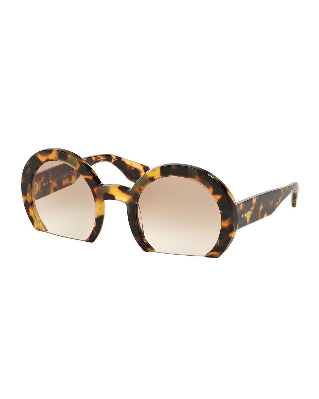 3fc626ca7867 Miu Miu Rasoir Cutoff Round Sunglasses