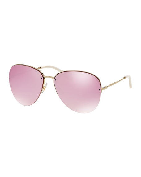 Oversized Metal Sunglasses, Pink