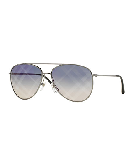 Check-Print Aviator Sunglasses, Pewter