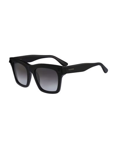 Sunglasses with Tonal Rockstud Temple, Black