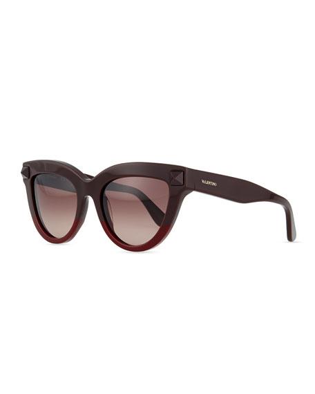 Valentino Tonal-Stud Sunglasses, Brown/Red