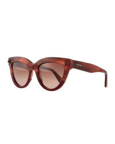 Pyramid-Stud Cat-Eye Sunglasses, Burgundy