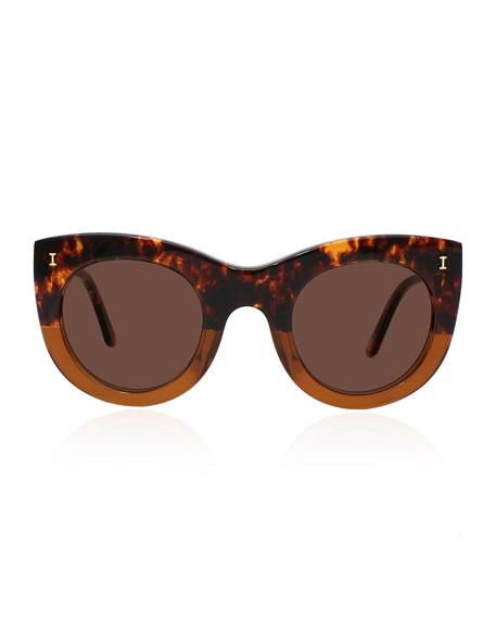 Boca Bicolor Cat-Eye Sunglasses, Brown/Black