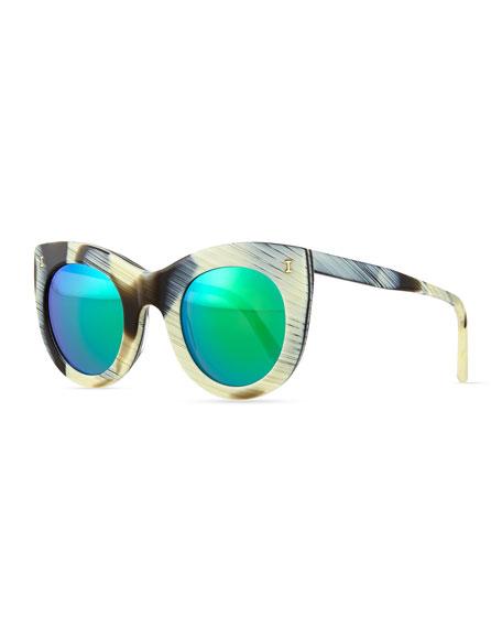 Illesteva Boca Cat-Eye Sunglasses, Horn