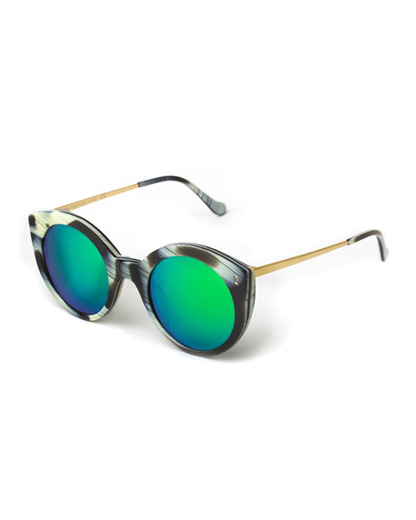 Palm Beach Mirrored Sunglasses, Horn