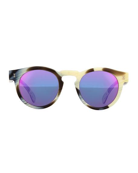 Leonard Round Horn-Pattern Sunglasses with Mirror Lens, Brown/Cream