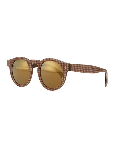 Leonard Round Sunglasses with Mirror Lens, Brown Houndstooth