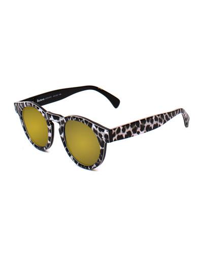Leonard Round Leopard-Pattern Sunglasses with Mirror Lens, Black/White