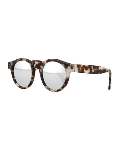 Leonard Round Horn-Pattern Sunglasses with Mirror Lens, Gray/Clear