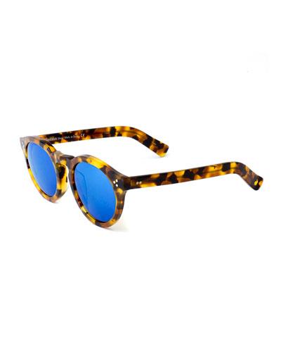 Leonard II Mirror Sunglasses, Tortoise/Blue