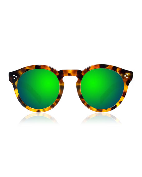 Leonard II Mirror Sunglasses, Tortoise/Green