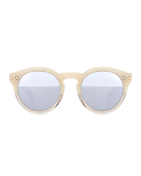 Illesteva Leonard II Round Bicolor Sunglasses, Cream/Clear