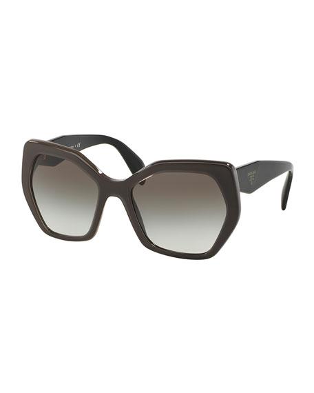 Prada Heritage Hexagonal Sunglasses, Gray